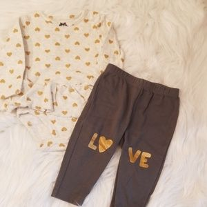 Carters Gold Heart Outfit